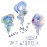 Grupo da aquarela do fumo do cigarro Ilustração Stock