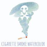 Grupo da aquarela do fumo do cigarro Ilustração Royalty Free