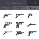 Grupo da arma de fogo Armas, pistolas, revólveres Projeto liso Fotografia de Stock Royalty Free