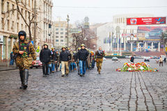 Grupo da autodefesa que marcha em Kiev Fotografia de Stock Royalty Free