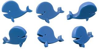 Grupo da baleia 3d do brinquedo isolado no branco Imagens de Stock Royalty Free