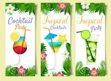 Grupo da bandeira da bebida do verão do cocktail do corte do papel do vetor ilustração stock