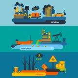 Grupo da bandeira da poluição Imagem de Stock Royalty Free