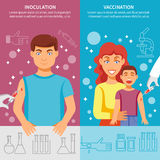 Grupo da bandeira da vacinação da criança e do adulto Fotos de Stock