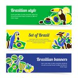Grupo da bandeira de Brasil Fotografia de Stock