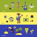 Grupo da bandeira de Brasil Foto de Stock