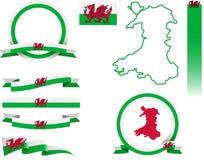 Grupo da bandeira de Gales ilustração royalty free