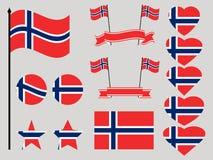 Grupo da bandeira de Noruega Coleção do coração e do círculo dos símbolos Vetor Fotos de Stock Royalty Free