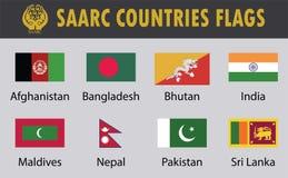 Grupo da bandeira de países do SAARC ilustração royalty free