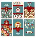 Grupo da bandeira do feriado de Natal no estilo liso Fundo brilhante Foto de Stock Royalty Free