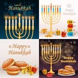 Grupo da bandeira do Hanukkah, estilo realístico ilustração do vetor