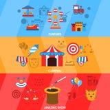 Grupo da bandeira do parque de diversões Fotos de Stock