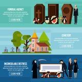 Grupo da bandeira do plano de serviços fúnebres ilustração stock