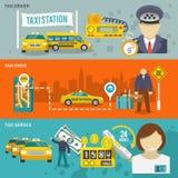 Grupo da bandeira do táxi Imagens de Stock
