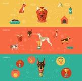 Grupo da bandeira dos ícones do cão Fotografia de Stock Royalty Free