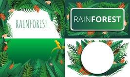 Grupo da bandeira da floresta úmida, estilo dos desenhos animados ilustração do vetor