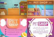Grupo da bandeira da loja do animal de estimação, estilo dos desenhos animados ilustração royalty free
