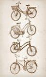 Grupo da bicicleta do vintage da garatuja Imagens de Stock