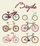 Grupo da bicicleta do vintage Ilustração do vetor Fotos de Stock