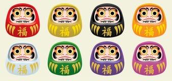 Grupo da boneca do daruma de Japão ilustração royalty free