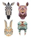 Grupo da cabeça abstrata geométrica dos animais Zebra, rinoceronte, lebre, morsa Fotos de Stock Royalty Free