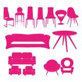 Grupo da cadeira, grupo do ícone Ilustração home do vetor dos interiores Fotografia de Stock