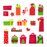 Grupo da caixa de presente do Natal No branco Fotografia de Stock