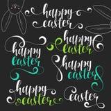 Grupo da caligrafia da rotulação Easter feliz Páscoa caligráfica das frases com coelho ilustração royalty free