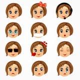 Grupo da cara das emoções da menina da criança Caras do smiley do Emoticon Ilustração dos desenhos animados do vetor Imagem de Stock Royalty Free