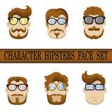 Grupo da cara do caráter do moderno. Jogo do caráter do moderno - penteados, vidros, bigodes, barbas. Fotografia de Stock