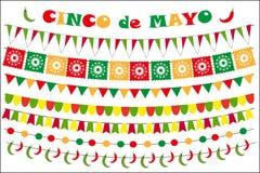 Grupo da celebração de Cinco de Mayo de bandeiras coloridas, festões, bunting Estilo liso, no fundo branco Vetor ilustração royalty free