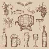 Grupo da cerveja e do vinho Fotografia de Stock