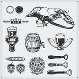 Grupo da cerveja Sinais, símbolos e elementos do projeto Fotos de Stock
