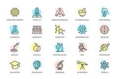 Grupo da ciência do vetor e da linha colorida ícones da pesquisa com títulos Microplaqueta, foguete, átomo, íon, lâmpada, tubo, b Imagem de Stock Royalty Free
