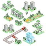 Grupo da cidade isométrica Imagem de Stock Royalty Free