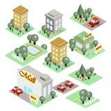 Grupo da cidade isométrica Imagens de Stock