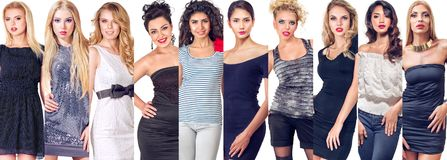 Grupo da colagem de mulheres foto de stock