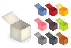Grupo da coleção da caixa 3d aberta realística na cor da variedade Fotografia de Stock