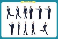 Grupo da coleção de homem de negócios de passeio e de corrida Caminhada, corrida, active, desagrado, como Variedade de movimentos ilustração do vetor