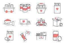 Grupo da coleção do ícone do esboço da movimentação do alimento Ilustração do vetor da refeição da caridade ilustração stock