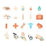 Grupo da coleção dos ícones da medicina e dos cuidados médicos Fotos de Stock