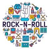 Grupo da coleção dos ícones do esboço do círculo do ROLO da ROCHA N Bloco linear do símbolo do equipamento da música Molde modern ilustração stock