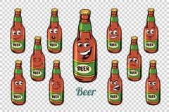 Grupo da coleção dos caráteres das emoções da garrafa de cerveja ilustração royalty free