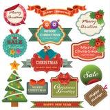 Grupo da coleção da etiqueta do Natal do vintage ilustração stock
