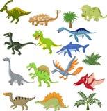 Grupo da coleção dos desenhos animados do dinossauro Imagens de Stock