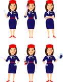 Grupo da comissária de bordo em poses diferentes, cuidado para passageiros Fotografia de Stock