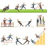 Grupo da competição do negócio de ilustrações com homem de negócios Running And Competing nos esportes ilustração stock