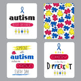 Grupo da conscientização do autismo de cartões Fotografia de Stock Royalty Free