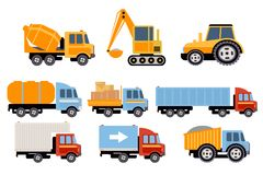 Grupo da construção e do transporte de carga, equipamento pesado, ilustrações do vetor dos veículos da construção em um fundo bra ilustração do vetor