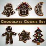 Grupo da cookie do chocolate do pão-de-espécie Fotos de Stock Royalty Free